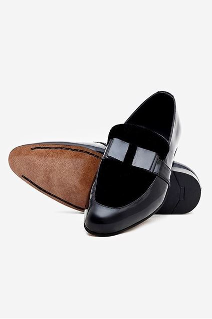Footprint - Black Casual Velvet Leather Pumps