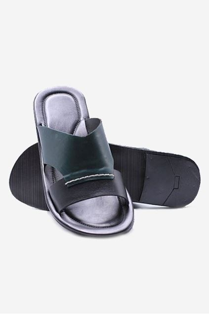 Footprint - Black Casual Leather Slippers
