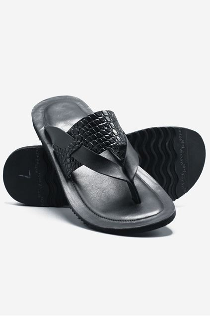 Footprint - Black Eid Collection Leather Slippers